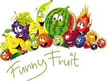 Många rolig frukt - frukt med leende och den lyckliga framsidan - vektorfrukt stock illustrationer