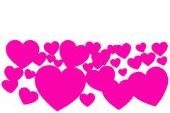 Många rosa pappers- hjärtor i form av den dekorativa ramen på vit bakgrund med kopieringsutrymme Symbol av den förälskelse- och f arkivfoton