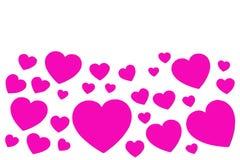 Många rosa pappers- hjärtor i form av den dekorativa ramen på vit bakgrund med kopieringsutrymme Symbol av den förälskelse- och f arkivbild