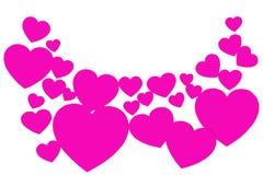 Många rosa pappers- hjärtor i form av en båge Rundad dekorativ ram på vit bakgrund med kopieringsutrymme Symbol av förälskelse arkivfoton