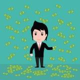Många sedlar, affärsman har många sedlar royaltyfri foto