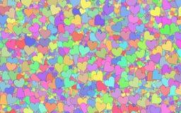 Många små mångfärgade hjärtabakgrunder stock illustrationer