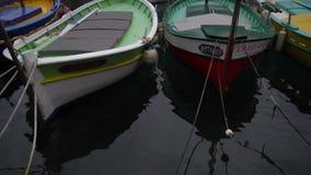 Många som är olika av små fiskebåtar på port av Nice, Frankrike lager videofilmer