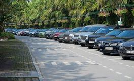 Många sorter av bilar som parkerar på gatan, sid Fotografering för Bildbyråer