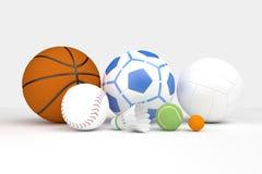 Många sorter av bollar Fotografering för Bildbyråer