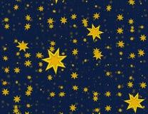 Många tänder - gula flygstjärnor på blåa bakgrunder Royaltyfri Foto