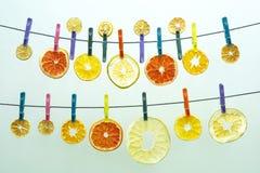 Många torkade stycken av olika citrusfrukter hänger på kulöra klädnypor arkivfoton