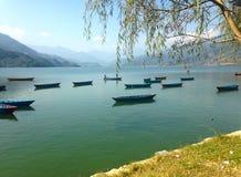 Många turist- fartyg för trevlig multicolore av sjön Pheva, berg och moln Royaltyfri Fotografi