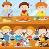 Många ungar som äter i kantin royaltyfri illustrationer