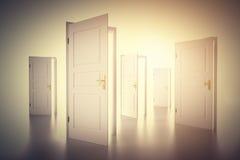 Många vägar att välja från, öppna dörrar Beslutsfattande arkivbild
