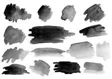Många vattenfärgborsteslaglängder Upps?ttning lutningar arkivbilder