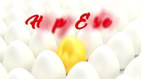 Många vita ägg - guld- ägg och den lyckliga påsken för meddelande royaltyfri illustrationer