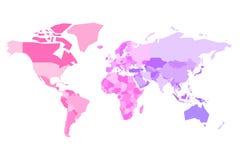 Mångfärgad översikt av världen Förenklad politisk översikt med nationella gränser av countires Färgrik vektorillustration in stock illustrationer