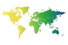 Mångfärgad översikt av världen Förenklad politisk översikt med nationella gränser mångfärgat lutningland royaltyfri illustrationer