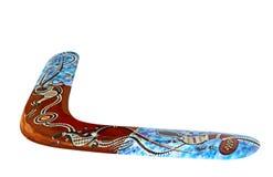 Mångfärgad australisk bumerang som isoleras på vit bakgrund Royaltyfri Bild