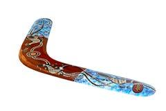 Mångfärgad australisk bumerang som isoleras på vit bakgrund Royaltyfri Fotografi