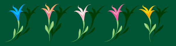 Mångfärgad färgrik liljauppsättning av beståndsdelar för design isolerad gräsplan royaltyfri illustrationer