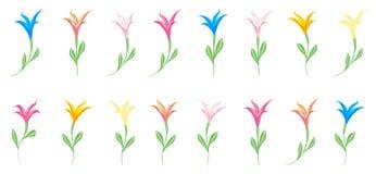 Mångfärgad färgrik liljauppsättning av beståndsdelar för design som isoleras på vit royaltyfri illustrationer