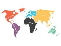 Mångfärgad förenklad världskarta som delas till kontinenter royaltyfri illustrationer