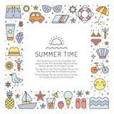 Mångfärgad fyrkantig ram för sommarstrand Rengöring och enkel översiktsdesign Royaltyfria Foton