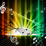 Mångfärgad gardinbakgrund betyder den musikinstrument och sonen royaltyfri illustrationer