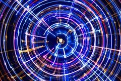 Mångfärgad glödande elektrisk cirkel Arkivbild