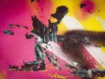 Mångfärgad livlig kulör och sprucken väggtextur Fotografering för Bildbyråer