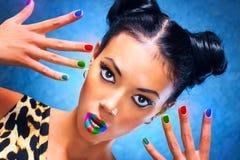 Mångfärgad makeup Fotografering för Bildbyråer