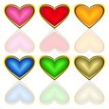 mångfärgad set för hjärtor Arkivfoton
