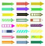 mångfärgad set för pilbakgrundsblack Royaltyfria Bilder