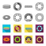 Mångfärgad simningcirkelmonokrom, plana symboler i uppsättningsamlingen för design Olikt materiel för livbojvektorsymbol Arkivfoton