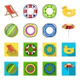Mångfärgad simningcirkeltecknad film, plana symboler i uppsättningsamlingen för design Olikt materiel för livbojvektorsymbol Royaltyfria Bilder