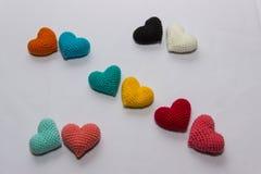 Mångfärgad stucken valentin Royaltyfria Bilder