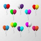Mångfärgad uppsättning för ballong två med grå bakgrund royaltyfri illustrationer