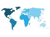 Mångfärgad världskarta som delas till sex kontinenter i olika shaders av blått - Nordamerika, Sydamerika, Afrika vektor illustrationer