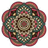 Mångfärgad vektormandala i retro stil Royaltyfri Bild