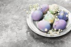 Mångfärgade ägg för påsk i marmorplatta med vita blommor Royaltyfri Foto