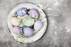 Mångfärgade ägg för påsk i marmorplatta med vita blommor Royaltyfria Bilder