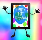 Mångfärgade ballonger för att fira A minnestavla för 10th eller tionde födelsedag Arkivfoto