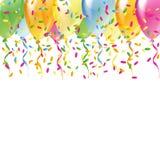 Mångfärgade ballonger med färgkonfettier Fotografering för Bildbyråer