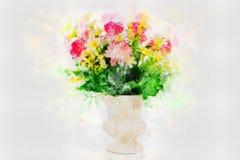 Mångfärgade blommor i en vas, vattenfärgmålning, digital konststil, illustrationmålning arkivbilder