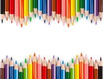 mångfärgade blyertspennor Arkivbilder