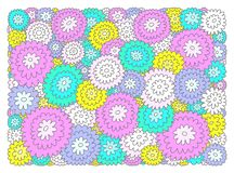 Mångfärgade dekorativa blommor på vit bakgrund stock illustrationer