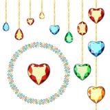 Mångfärgade diamanter på guld- kedjor Vykort med färgrika ädelstenar Kulöra ädelstenar av det olika snittet vektor illustrationer