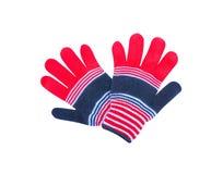 Mångfärgade färgrika handskar som isoleras på vit bakgrund med den röda urklippbanan, vitt, svart royaltyfri foto
