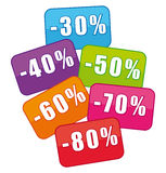mångfärgade försäljningar för kuponger Arkivbilder