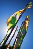 Mångfärgade flaggor framkallar i vinden Royaltyfri Fotografi