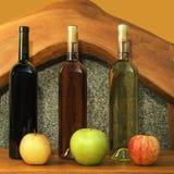Mångfärgade flaskor av vin Arkivbild