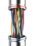 Mångfärgade industriella elektriska kablar på vit bakgrund Royaltyfri Foto
