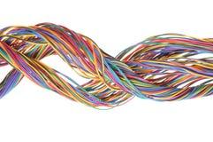 Mångfärgade kablar för nätverksdator Arkivfoton